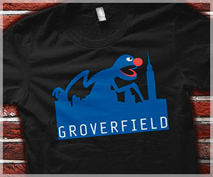 Groverfield T-Shirt, Funny Seseme Street Parody Grover Cloverfield T-Shirt