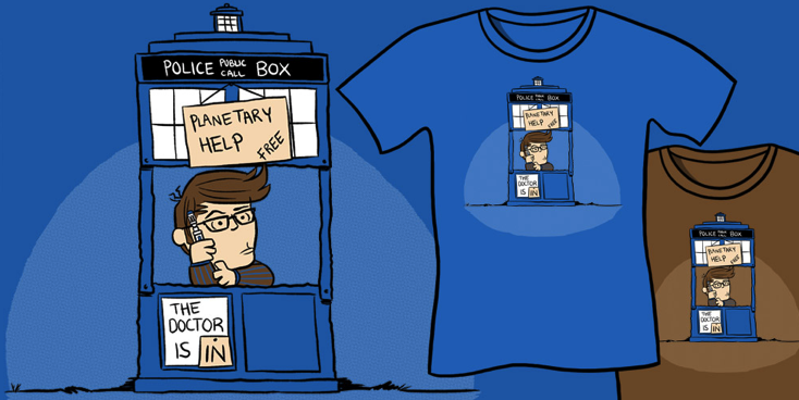 The Doctor Is In Shirt - Doctor Who parody, Charlie Brown Parody, geeky tees, funny t-shirts, nerdy shirts