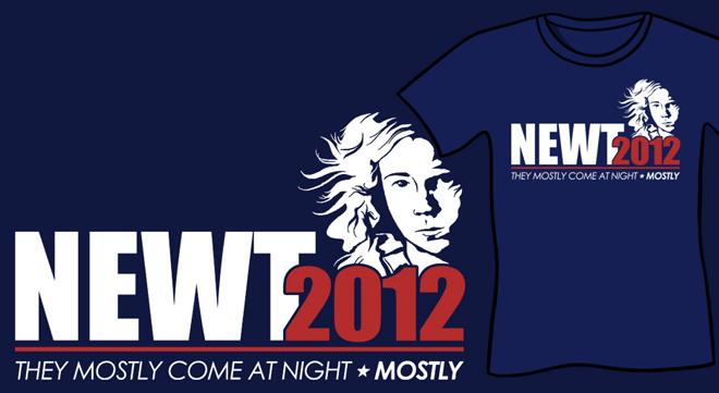 funny scifi parody t-shirt newt 2012 newt for president t-shirt aliens ripley scifi parody