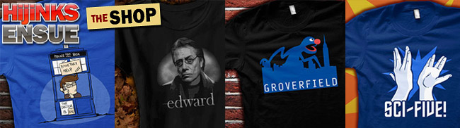 Funny T-Shirts, Geeky shirts, Doctor who parody shirts, Team Edward James Olmos shirt, Groverfield Shirt, Sci-Five Star Trek Parody T-Shirt in The HijiNKS ENSUE Store