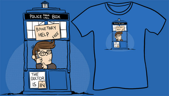The Doctor Is In T-Shirt, Funny Doctor Who Parody Shirt, Charlie Brown, Sci-Fi