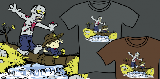 Where's Carl? Walking Dead Calvin and Hobbes Mashup Parody Shirt