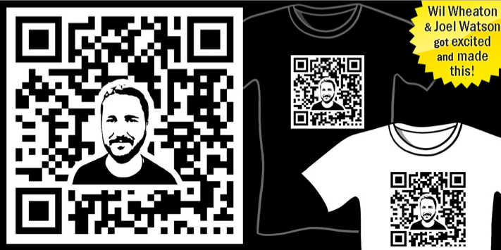 Wil Wheaton QR Code T-Shirt, The Code, @wilw, WilW, WWDN, Scannable Wil Wheaton Shirt