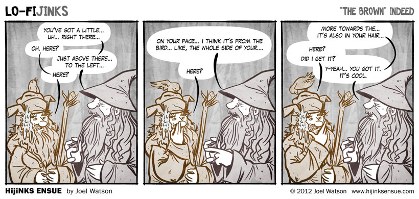 Suddenly the brown wizard's soiled robes flew open to reveal that Radagast had been nothing more than a pile of 30 insane hedgehogs all clambering for the same field mouse carcass.