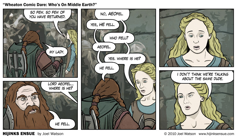 Wheaton Comic Dare: Who's On Middle Earth?