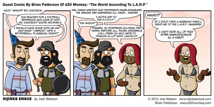 "Guest Comic By Brian Patterson Of d20 Monkey: ""The World According To L.A.R.P."""