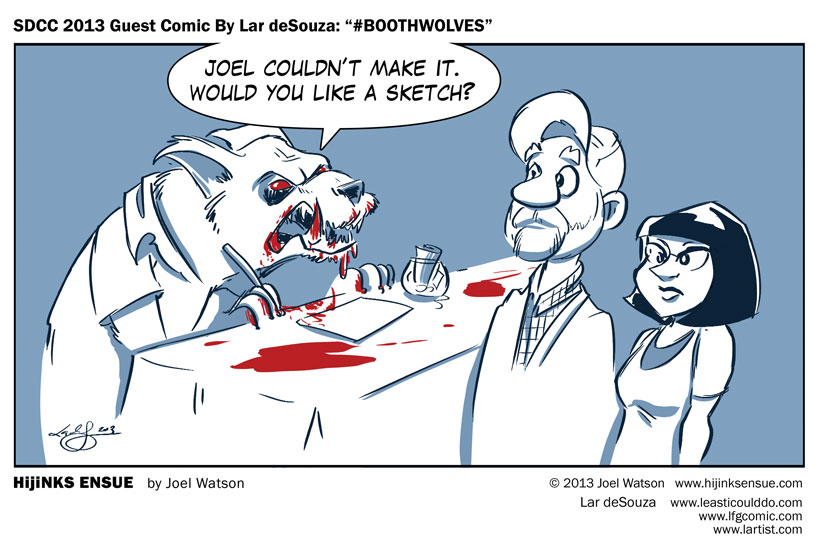 "SDCC 2013 Guest Comic By Lar deSouza: ""#BOOTHWOLVES"""