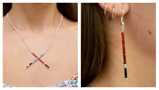 lightsaber necklace and earrings