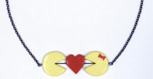 Kissing Pacman Ms Pacman Necklace Etsy