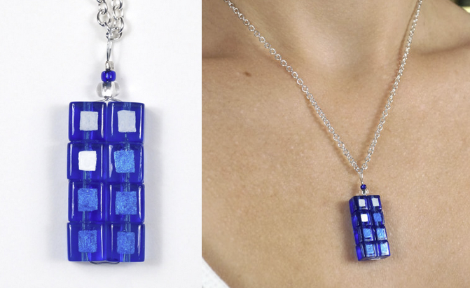 tardis necklace on etsy from science and fiction