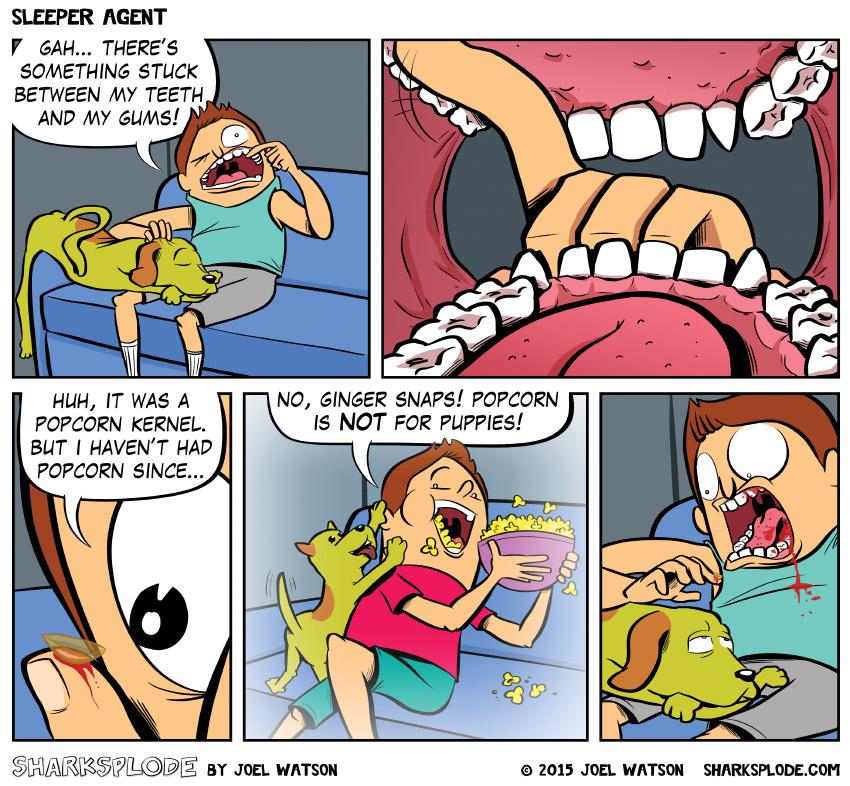 Panel 6: The dog dies.