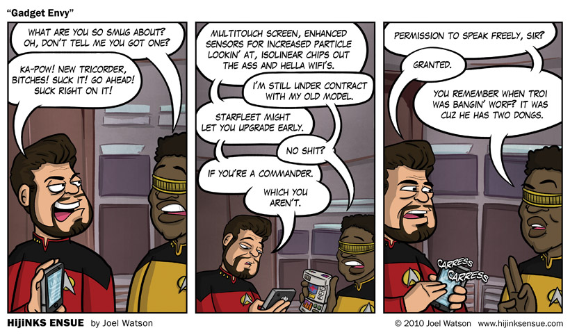 Alternate Title: Goddamn you, ATnG! I get no bars in the holodeck! No bars!